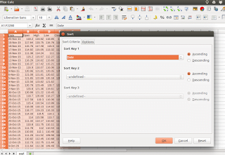 Sorting the data in LibreOffice Calc
